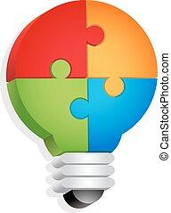 luz, quebra-cabeça, conceito, -, bulbo