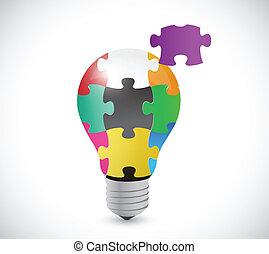 luz, quebra-cabeça, ilustração, pedaços, desenho, bulbo