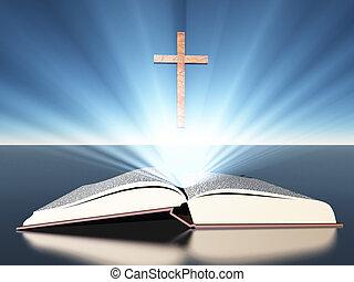 luz, radiates, de, biblia, debajo, cruz