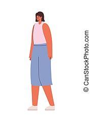 luz, rosa, vestido, cortocircuitos azules, camisa, mujer