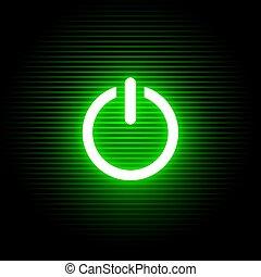 luz, símbolo, ativar, verde