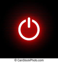 luz, símbolo, ativar, vermelho
