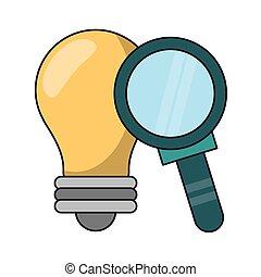 luz, símbolo, aumentar, bombilla, vidrio