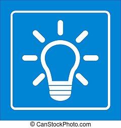 luz, símbolo., bulbo, sinal