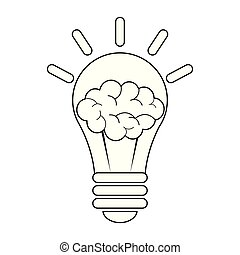 luz, símbolo, cérebro, pretas, bulbo, branca