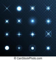 luz, set., efecto, estrellas, llamarada, brillo