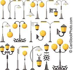 luz, set., rua, ilustração, apartamento
