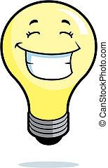 luz, sonriente, bombilla