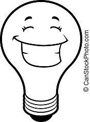 luz, sorrindo, bulbo