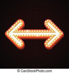 luz teatro, sinal, billboard, retro, seta, bordas