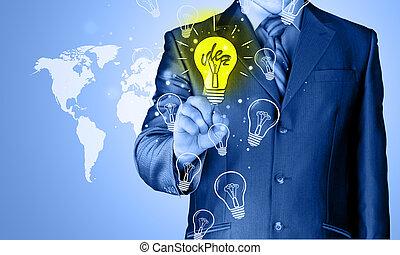 luz, tocar, idéia, homem negócio