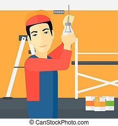 luz, torcendo, bulb., eletricista