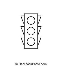 luz, tráfego, esboço, ícone