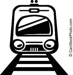 luz, tren, carril, vector, coche metro