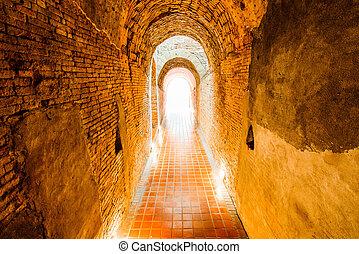 luz, tunnel., fim, túnel