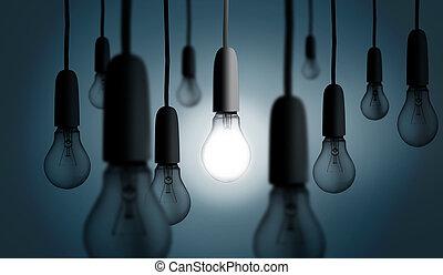 luz, um, iluminado, bulbo, cima