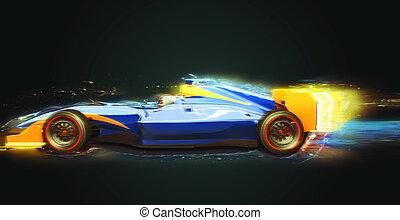 luz, uno, rastro, coche de la raza, fórmula