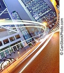 luz urbana, futurista, coche, ciudad