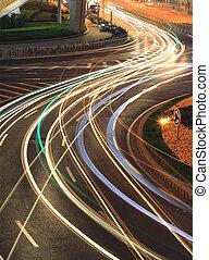 luz urbana, senderos, shanghai, pudong, noche, lujiazui, carretera
