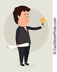 luz, vector, bulb., illustration., hombre de negocios