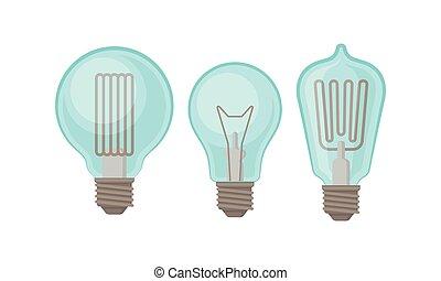 luz, vector, incandescente, o, bombilla, conjunto, lámpara