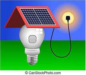 luz, vector, paneles, energía solar