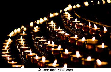 luz vela, en, un, iglesia