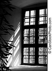 luz, ventana, intersección, castillo, contraste