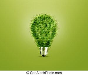 luz verde, bombilla, idea