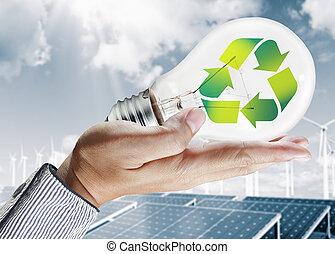 luz verde, bulbo, meio ambiente, conceito
