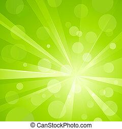 luz verde, explosión, con, brillante, luz
