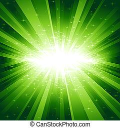 luz verde, explosión, con, estrellas