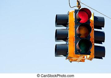 luz vermelha, semáforo, com, espaço cópia