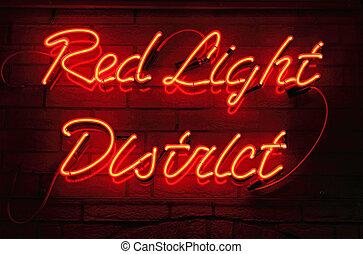 luz, vermelho, distrito