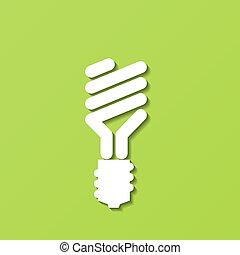 luz, vetorial, bulb., energy-saving