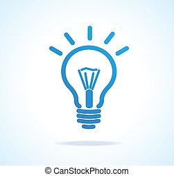 luz, vetorial, bulbo, ícone