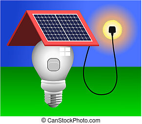 luz, vetorial, painéis, energia solar