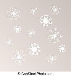 luz, vetorial, snowflakes, fundo