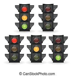 luz, vetorial, tráfego, ilustração