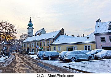 luz, wintertime, manhã, cedo, vila, grinzing