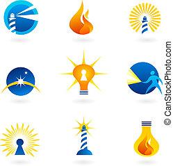 luz, y, fuego, iconos
