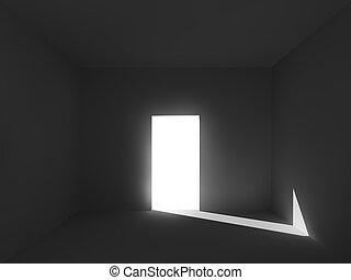 luz y sombra, en, el, habitación