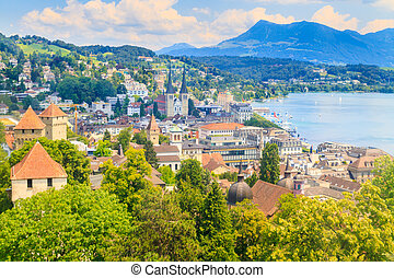 Luzern, City View from city walls with lake