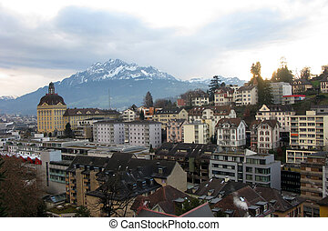 Luzern on the mountains background