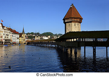 The Chapel Bridge and Lake Lucerne, in the city of Lucerne, Switzerland.