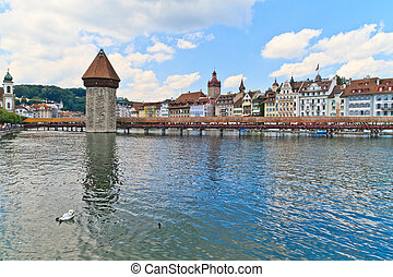 Luzern view of Chapel Bridge