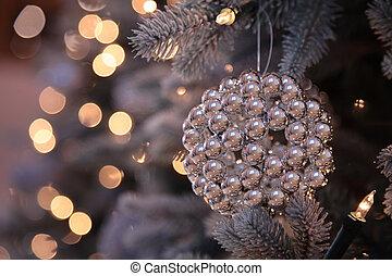 luzes árvore, decorações, ano, novo, natal
