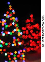luzes, árvore, defocused, natal