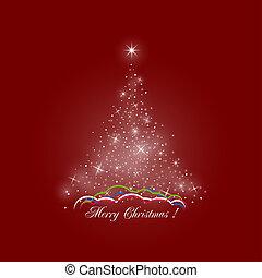 luzes, árvore, natal, fundo, vermelho