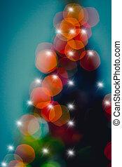 luzes, abstratos, árvore, defocused, natal